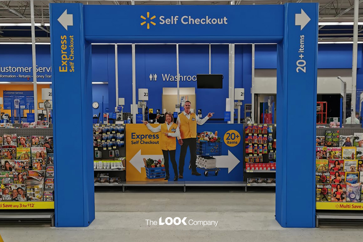 How Creative In-Store Display Solutions Increase Revenue for Supermarkets Walmart Arches Self Checkout Express