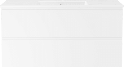 Servantskap B120 m/Servant porselen Air 120cm  - Hvit høyglans med integrert grep
