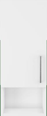 Badinett overskap med hvite sider, bredde 30 cm, dybde 16 cm, høyde 75cm, 1 dør i front.