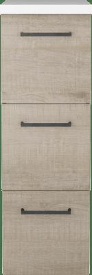 Variant Sideskap i Eik struktur med sort bøyle, bredde 30 cm, dybde 45 cm, 3 skuffer med kunstmarmor benkeplate benkeplate