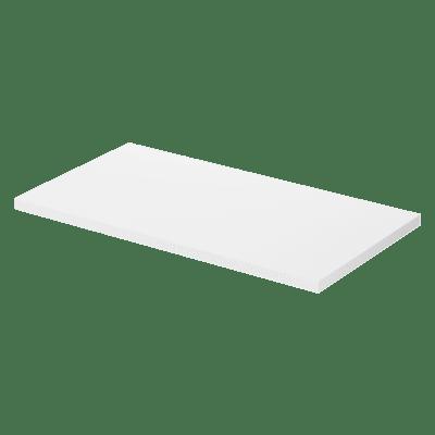 Foliert benkeplate B80 D48 hvit til bruk på kommoder og servantskap med nedfellings- og bolleservanter. Kan leveres i lengder opptil 245 cm (bestillingsvare).