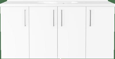 Badinett 120 cm med dører i Grålasert og Badinett Evermite servant.