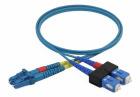 Duplex patch cord SC/PC-LC/PC, 9/OS2/2000, 2 m, blue