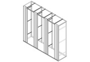 Open frame with 3 sections and 4 cable organizers