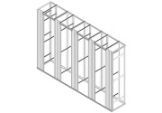 Open frame with 4 sections and 5 cable organizers