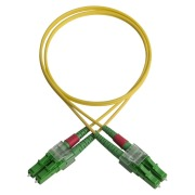 Duplex patch cord, LC/APC-LC/APC, 9/OS2/2000, yellow
