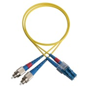 Duplex patch cord, FC/PC-LC/PC, 9/OS2/2000, yellow