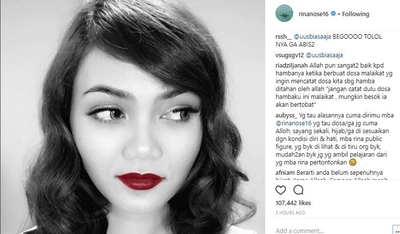 Setelah Buka Hijab, Rina Nose Terganggu Disebut Murtad