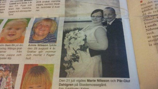Bröllopsbild i tidningen