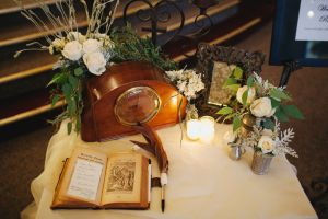 A family radio with a customized guest book.
