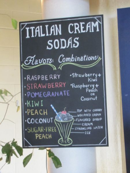 Italian cream soda menu....a big hit!
