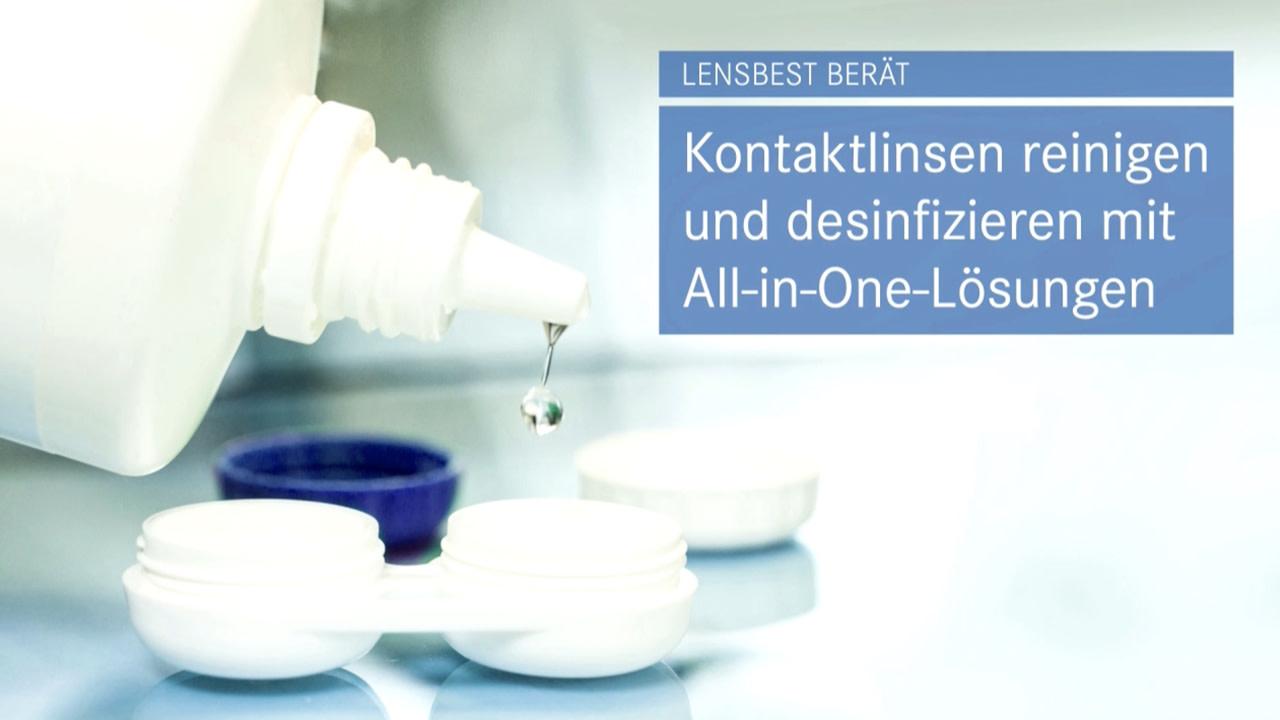 Kontaktlinsen reinigen und desinfizieren mit All-in-One-Lösungen