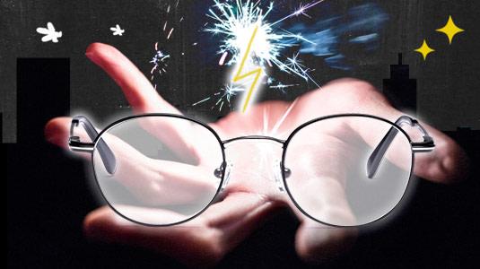 Kreisrunde Metall-Brillen für einen coolen Harry-Potter-Look an Halloween.
