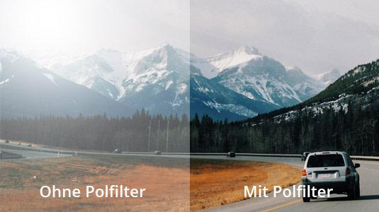 Sicht mit und ohne polarisierende Gläser.