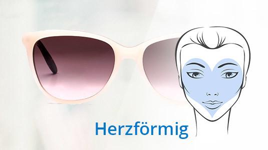Eine Cateye Sonnenbrille passt gut zur herzförmigen Gesichtsform.