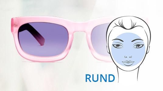 Eine eckige Sonnenbrille passt zu einem runden Gesicht.