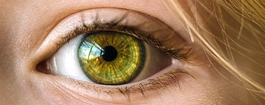 Grünes Auge mit Tränenfilm