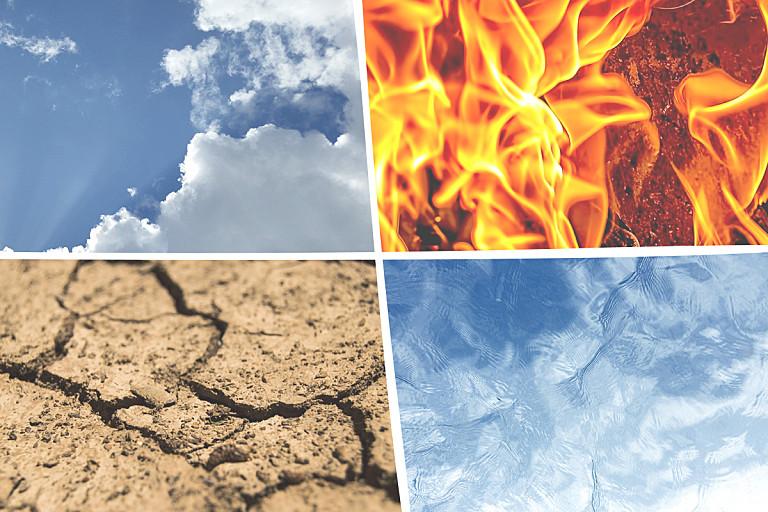 Die Elemente Feuer, Wasser, Erde und Luft.