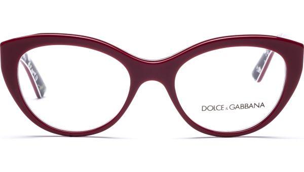 DG3246 3020 5118 Top Red/ Rose Print von DOLCE&GABBANA