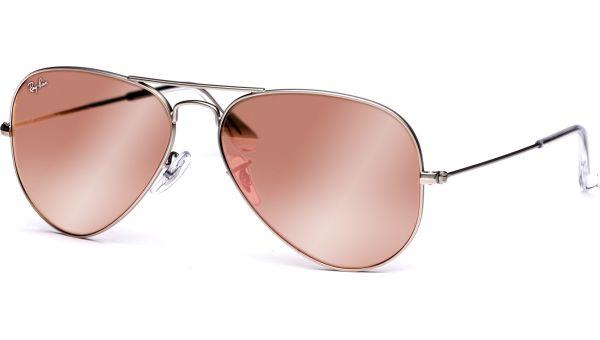 Aviator Metal Medium 3025 019/Z2 5814 Matte Silver/Brown Mirror Pink von Ray-Ban