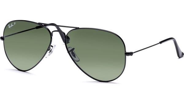 Aviator Metal Medium 3025 002/58 5814 Black/Crystal Green Polarized von Ray-Ban