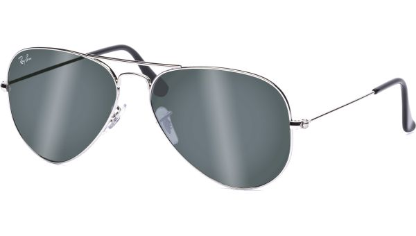 Aviator Metal Medium 3025 W3277 5814 Silver/Crystal Grey Mirror von Ray-Ban