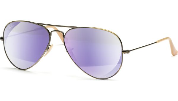 Aviator Metal Medium 3025 167/1M 5814 Brushed Bronze Demi Shiny/Grey Mirror Purple von Ray-Ban