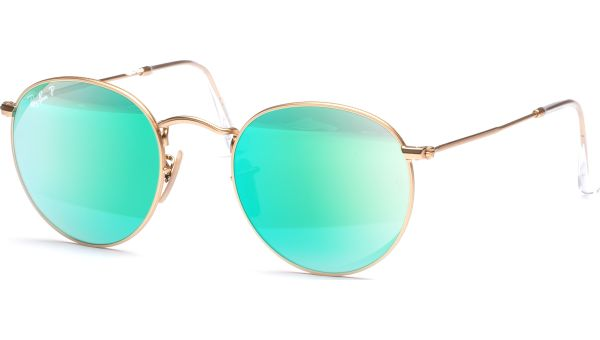 Round Metal 3447 112/P9 5021 Matte Gold/Green Mirror Polar von Ray-Ban
