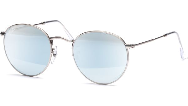 Round Metal 3447 019/30 5021 Matte Silver/Light Green Mirror Silver von Ray-Ban
