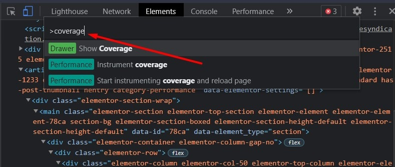 Select Coverage when you type