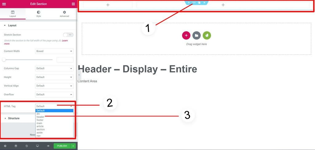 4th step is to specify which HTML tag should be use for Header, in this case it is Header tag