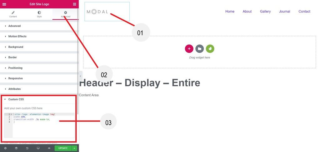 Go to Site logo widget advanced tab and give a CSS classes
