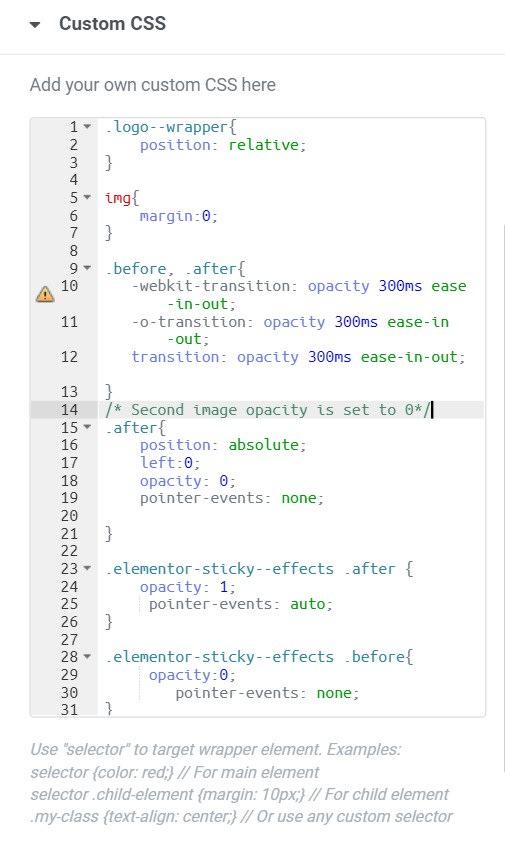 Custom CSS for HTML widget to switch logo