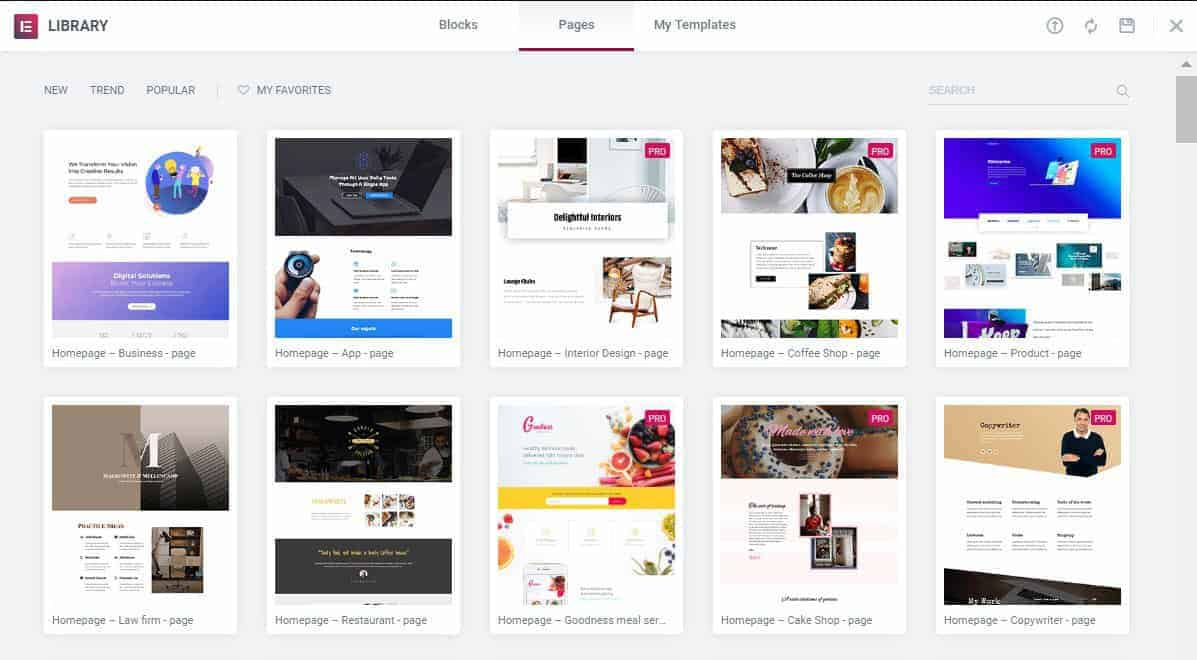 Elementor built-in Templates available for free and Pro users