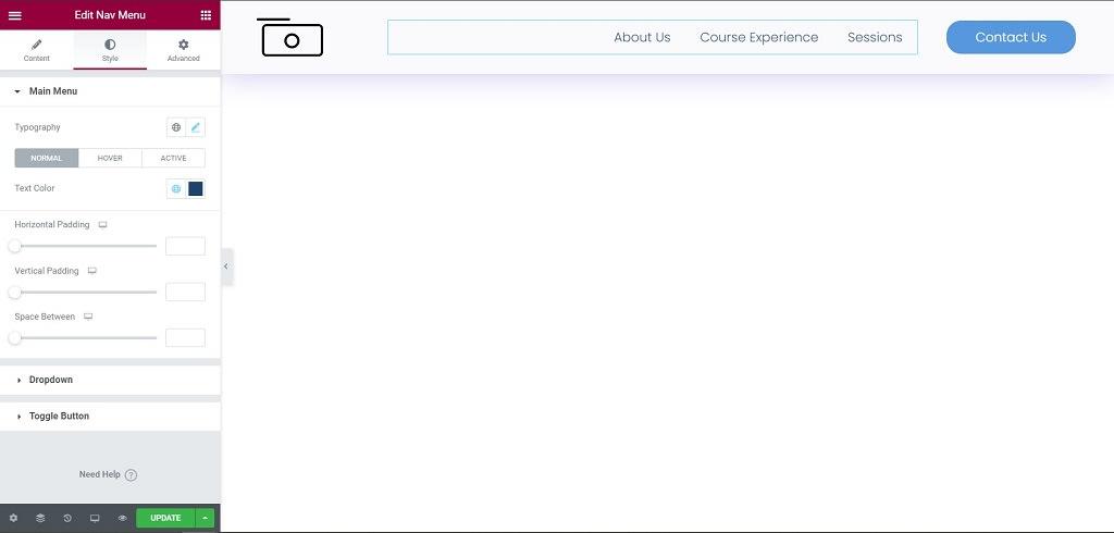 Drag & Drops Site Logo and Nav Menu widget from Elementor Editor
