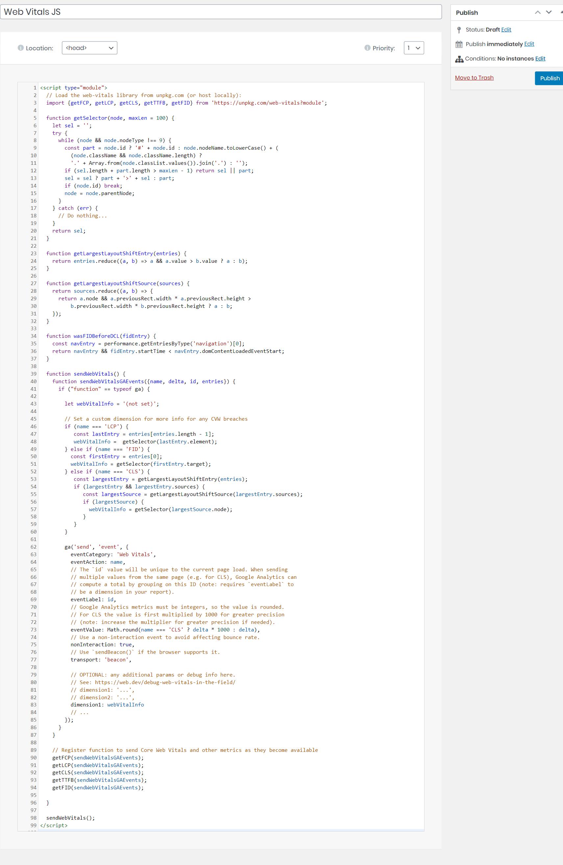 Web-vitals JS with Elementor pro - Custom Code