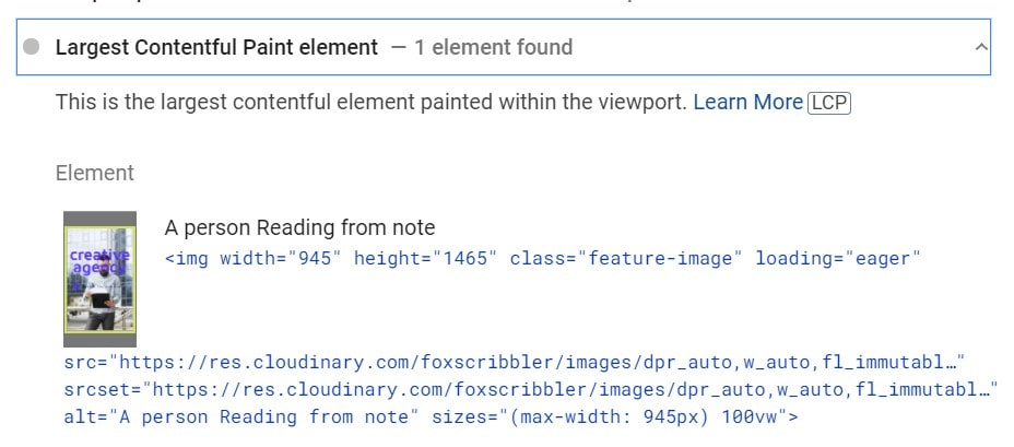 PSI detect my Hero image or Featured Image as Largest elements on the Viewport (LCP)