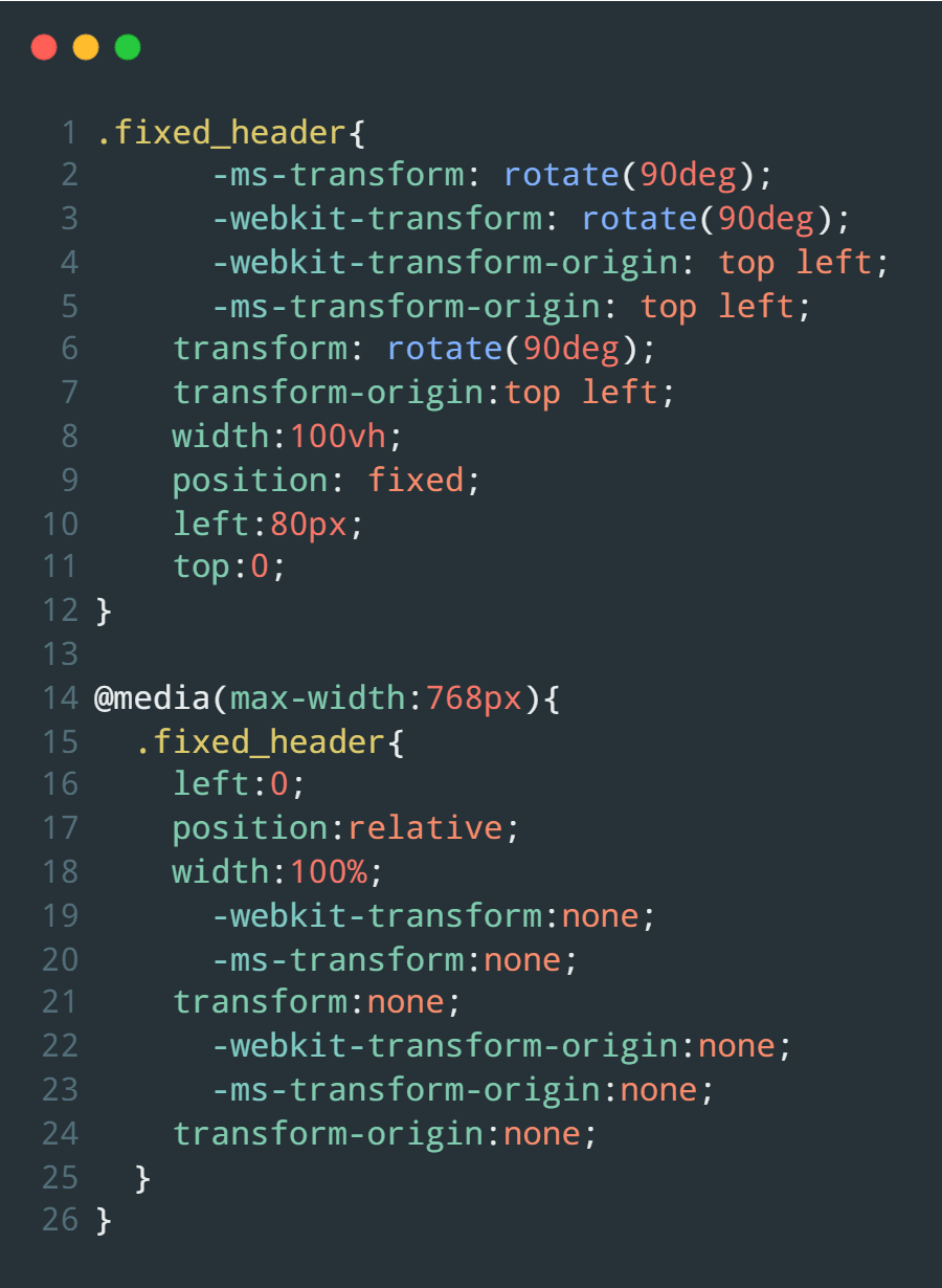 Adding CSS transform property to rotate the section vertically