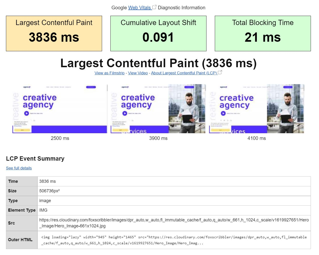 """Webpagetest Largest Contentful paint Event with loading=""""eager"""" attribute"""