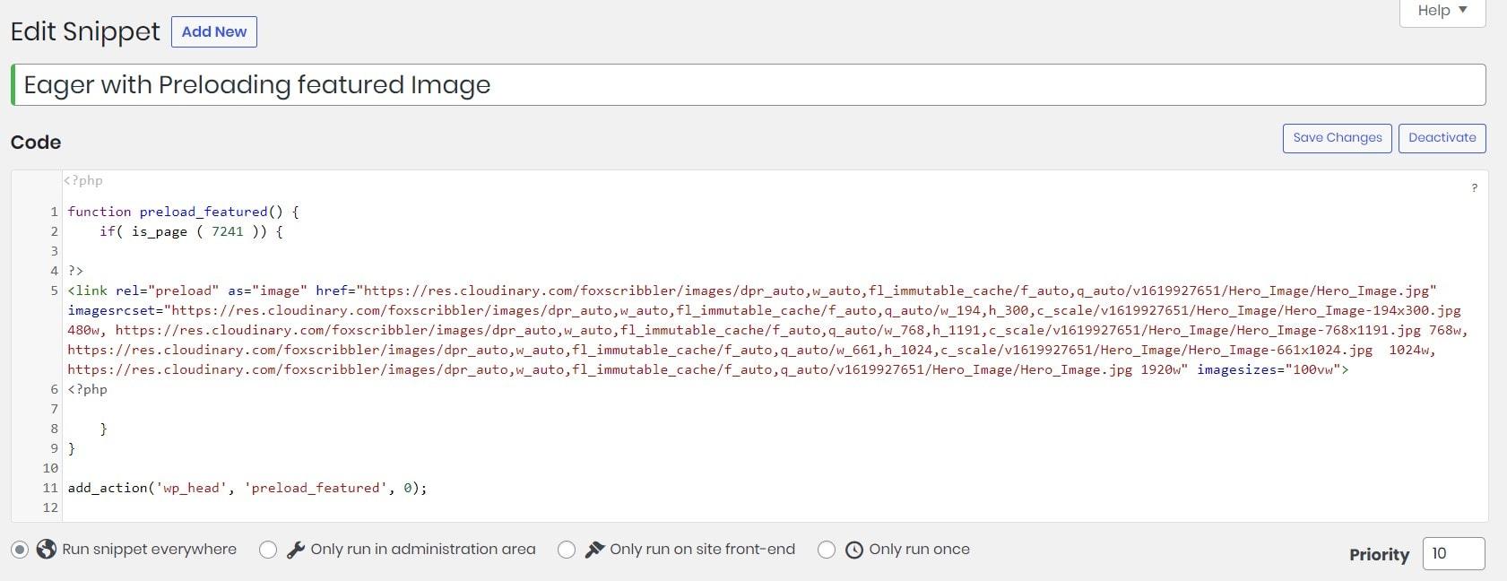 Preloading in Code snippets plugin