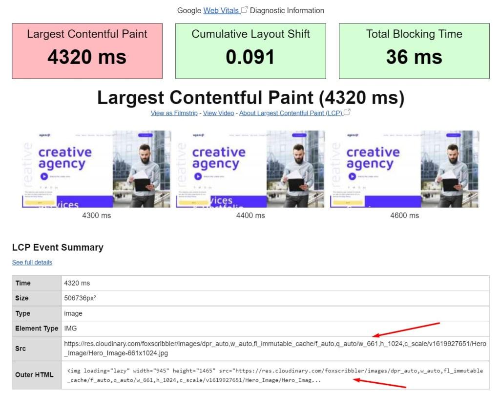 Webpagetest Largest Contentful paint Event