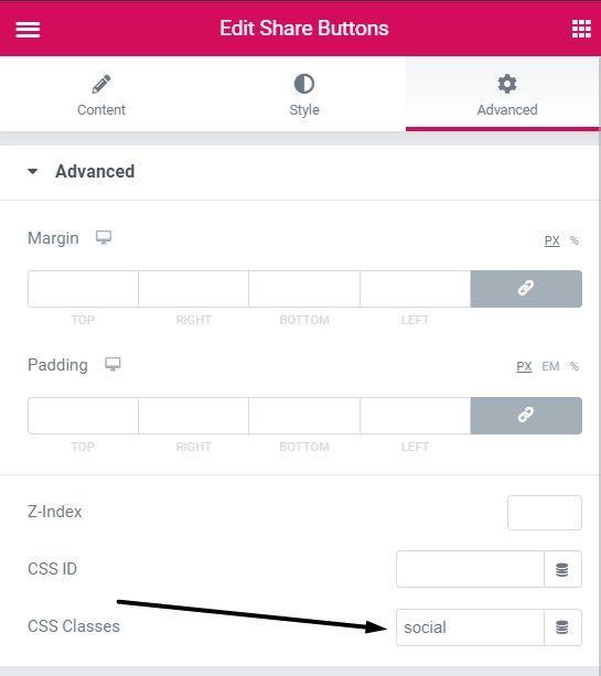 Add social share classes under social share button then Advanced then CSS class