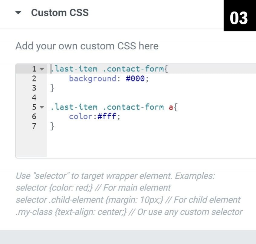Custom CSS under Navigation (nav) menu