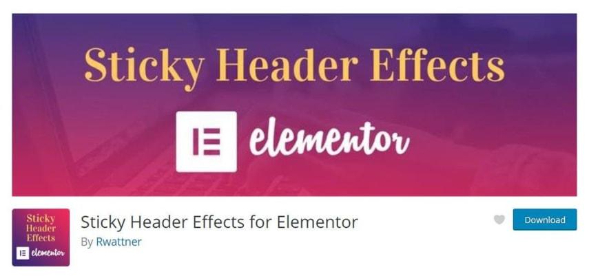 Sticky header effects for Elementor by Rwattner