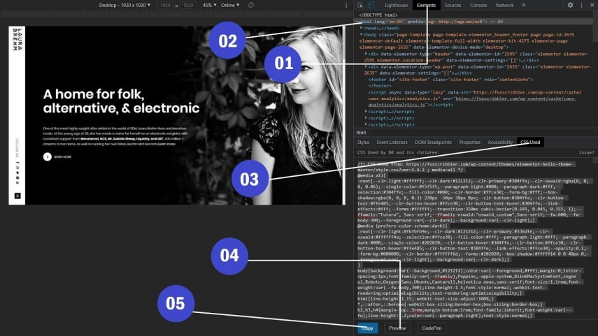 Extracting CSS with used CSS chrome extension