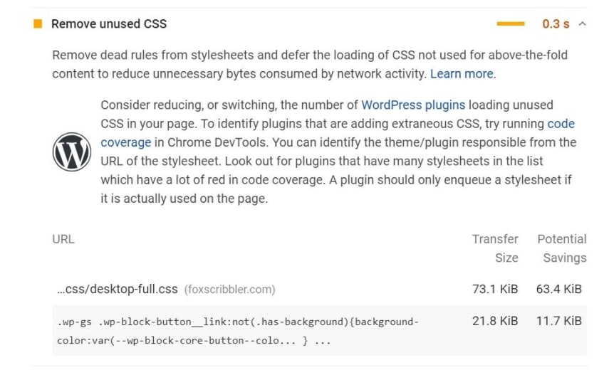This is Before we remove unused CSS, our stylesheets are over 100KB in size