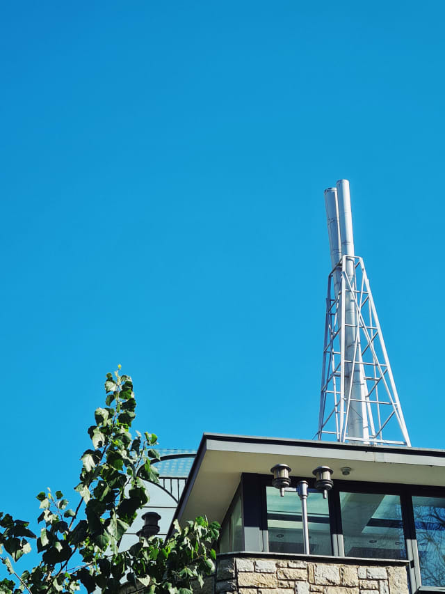 The top of a city building, with a tree and and a blue sky behind and to its side. A chimney or antenna stands on top.