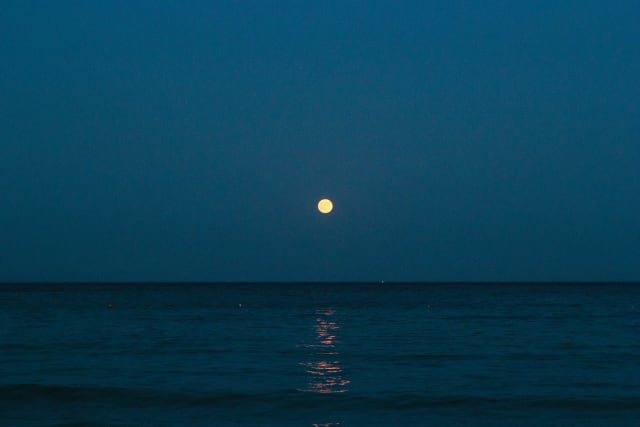 A full moon in the center, casting light over the shore.