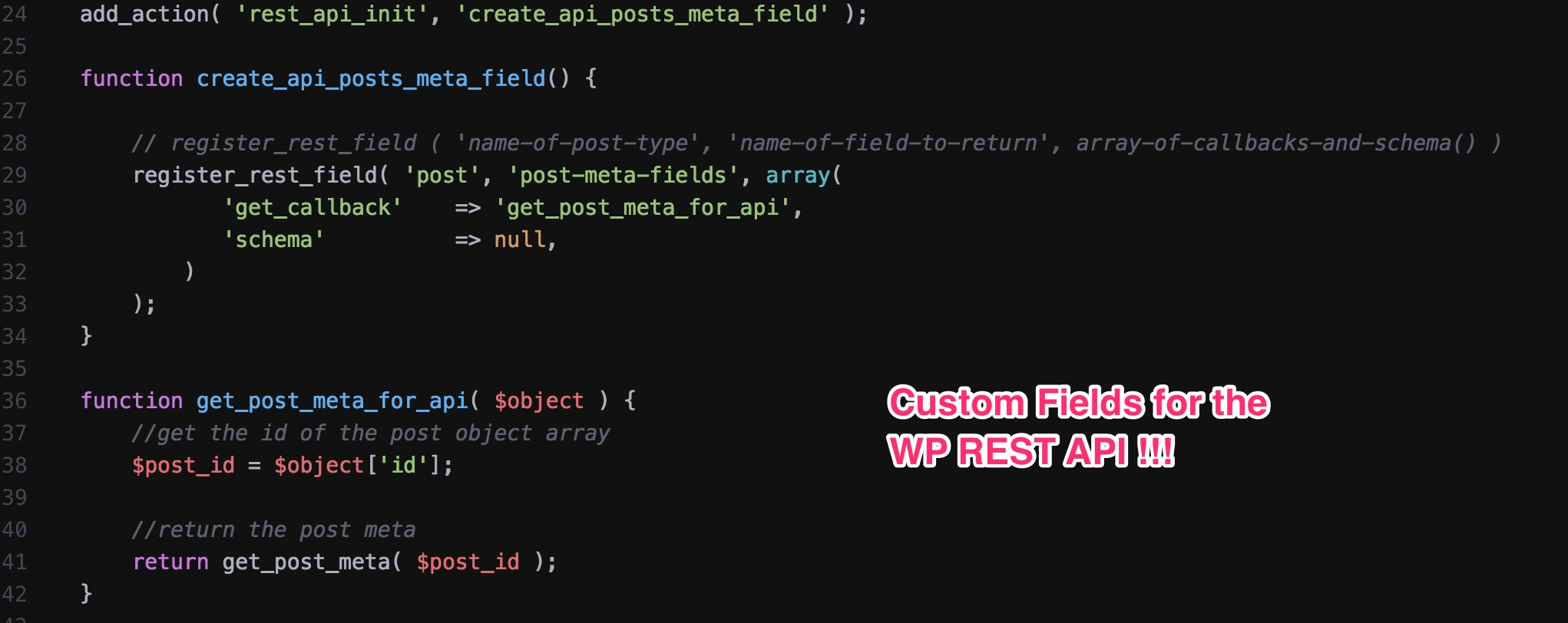 Getting Post Meta for the WP REST API
