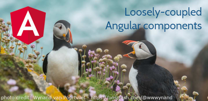 loosely coupled angular components header image - two puffins talking